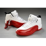 Nike Air Jordans 12 Men white red basketball shoes
