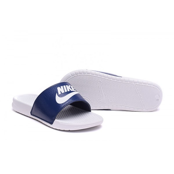 5ced3ac618ccbd Nike Benassi men slipper white and navy blue