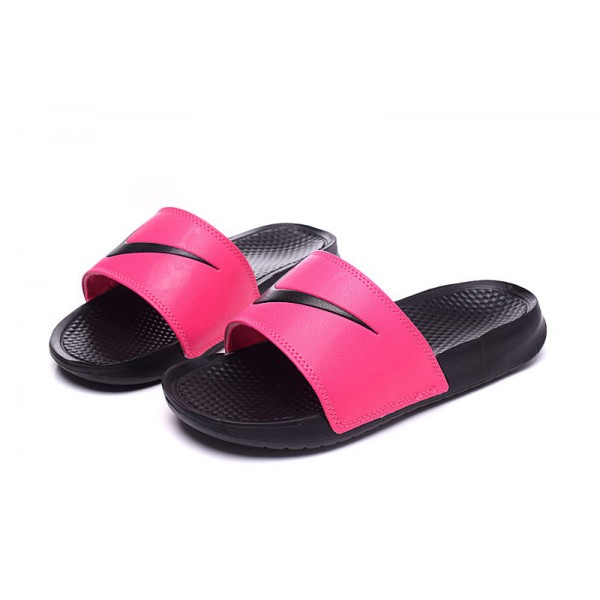 Nike Benassi women slipper black and red rose
