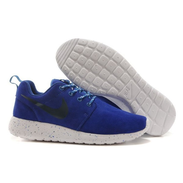 Roshe Run Men's Shoes Suede Splash-Ink Blue / White