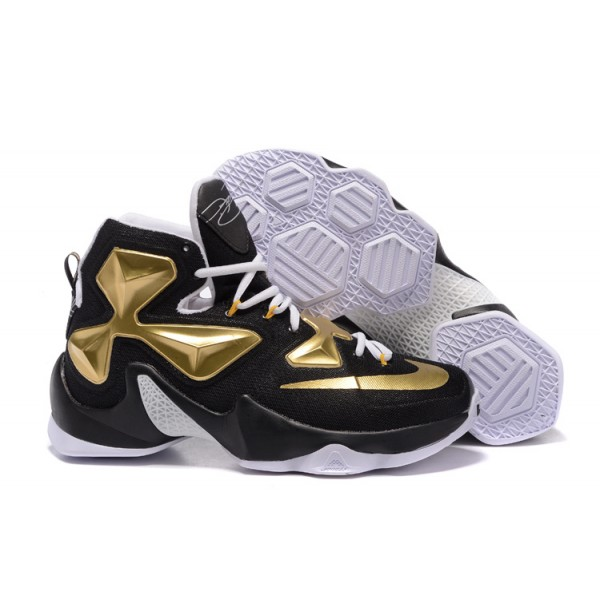 check out 5c954 8e3b1 Nike LeBron James 13 Shoes Black   White   Golden
