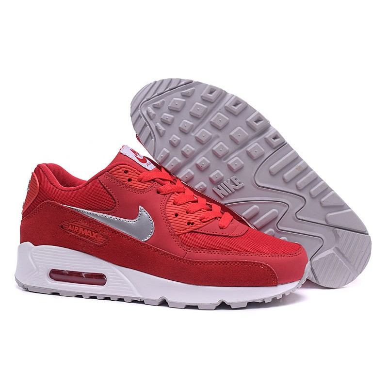 Nike Air Max 90 Men's Shoes Red Silver White