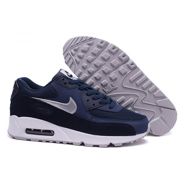 af6116bac57 Nike Air Max 90 Men s Shoes Midnight Blue   White   Silver