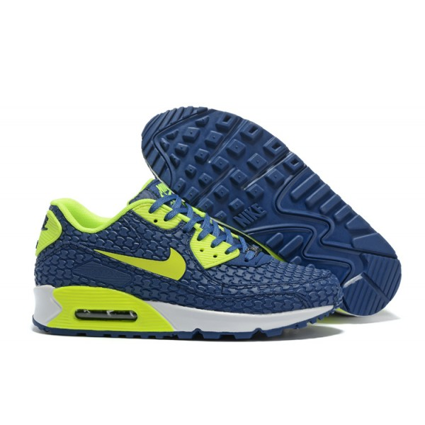 44bcaa47af60 Nike Air Max 90 Shoes KPU Men s Blue   Fluorescence Green